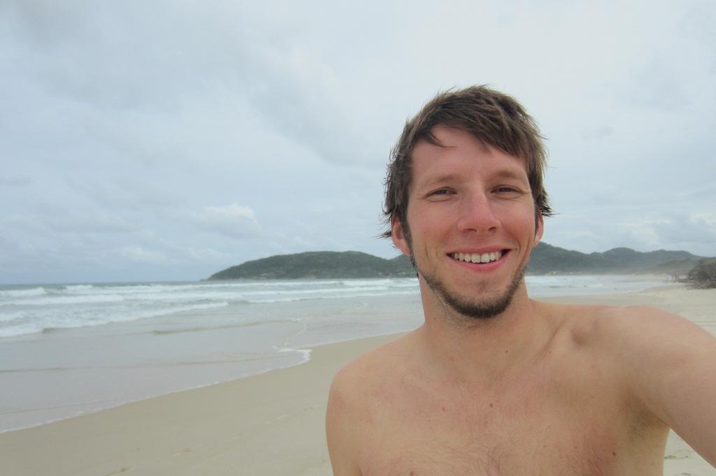 I am happy at the beach
