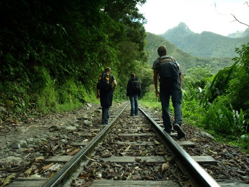 Walking on the rails to Aquas Calientes